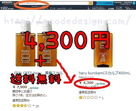 haruシャンプーのAmazonでの検索画面の画像
