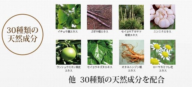 オレンジシャンプーの30種類の天然成分の画像