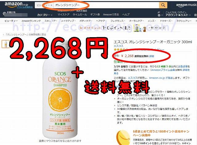 オレンジシャンプーのAmazonでの検索結果の画像